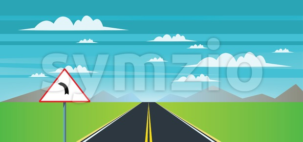 Abstract landscape with a road sign, green field and mountains. Digital vector image