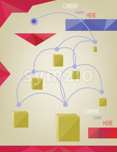 Career concept with dots, squares and paths infographic. Digital vector image Stock Vector
