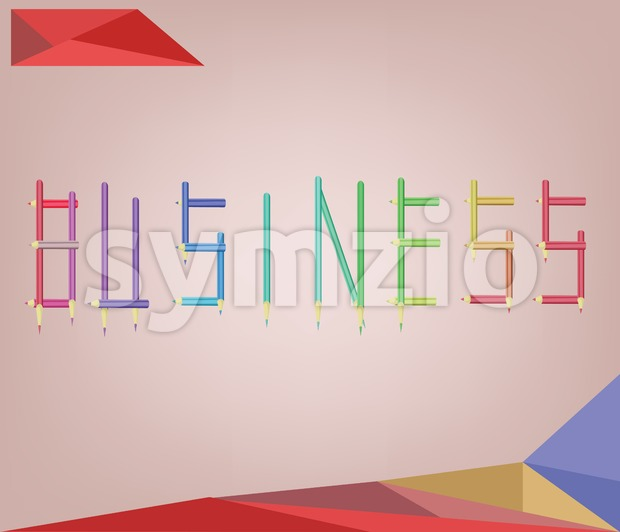 Abstract background for business solution shaped with colored pencils. Digital vector image Stock Vector