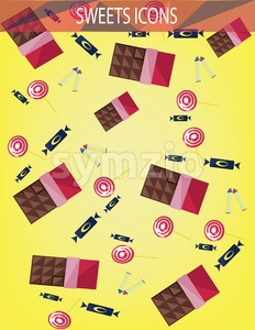 Abstract sweets icons set with candies, chocolate bars over an yellow background. Digital vector image. Stock Vector