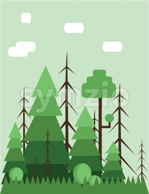 Abstract landscape design with green trees and clouds, flat style. Digital vector image. Stock Vector