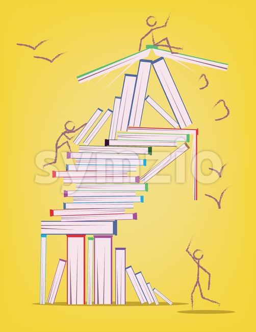 Abstract design with many books and stick figures moving around. Learning and education concept. Digital vector image.