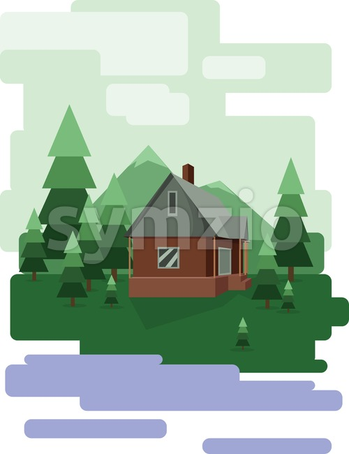 Abstract landscape design with green trees and clouds, a house in the forest and a lake, flat style. Digital vector ...