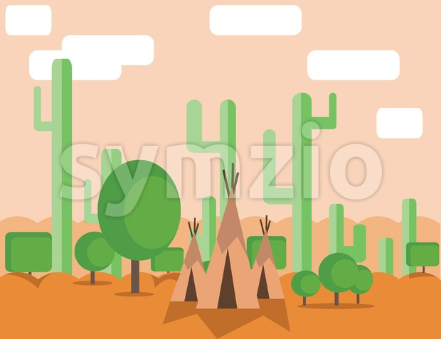 Abstract landscape design with green cactus trees, clouds and indian tents in the desert, flat style. Digital vector image.