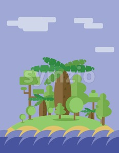 Abstract landscape design with green trees, clouds and ocean waves ion an island, flat style. Digital vector image. Stock Vector