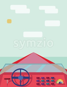 Abstract design with a red boat on the water, view from captain place, flat style. Digital vector image. Stock Vector