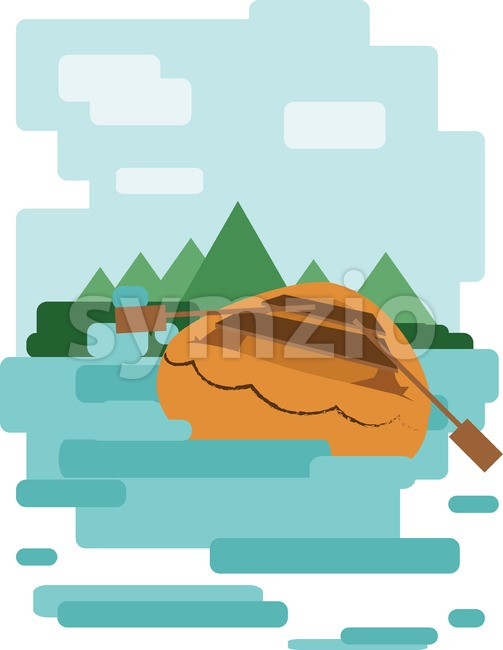 Abstract design with a wooden boat on the water leading to an island, back view, flat style. Digital vector image. Stock Vector