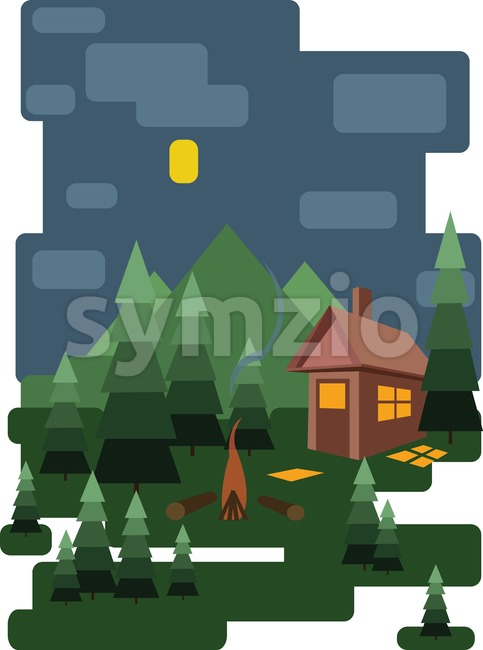 Abstract landscape design with green trees and clouds, a house in the forest and fire place at night, flat style. Digital vector image. Stock Vector