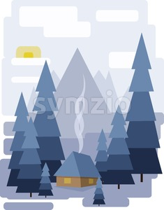Abstract landscape design with white trees and clouds, a house with smoke, snowing in a forest in winter, flat style. Digital vector image. Stock Vector