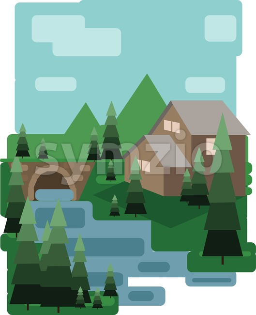 Abstract landscape design with green trees and clouds, a house and a bridge near a lake, flat style. Digital vector image. Stock Vector