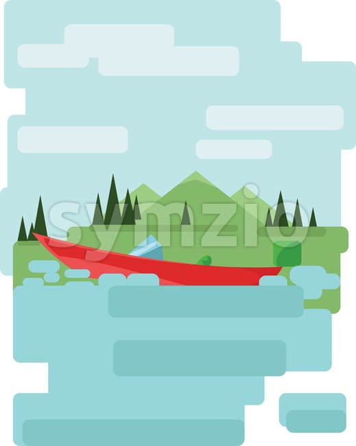 Abstract landscape design with green trees and clouds, a red boat on a lake, flat style. Digital vector image.