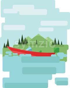 Abstract landscape design with green trees and clouds, a red boat on a lake, flat style. Digital vector image. Stock Vector