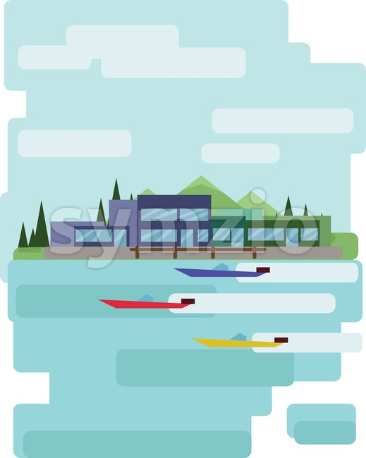 Abstract landscape design with green trees and clouds, buildings and boats on a lake, flat style. Digital vector image.