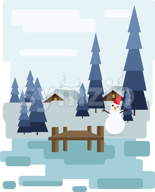 Abstract landscape design with white trees and clouds, a house with smoke, a happy snowman, snowing in a forest in ...