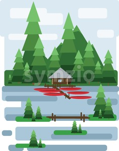 Abstract landscape design with green trees and clouds, a house and a boats on a lake, flat style. Digital vector image. Stock Vector