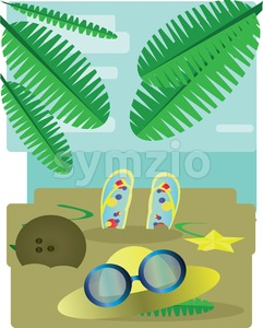 Abstract design with palm leaves, sand, slippers, hat and sun glasses, view to the sea. Digital vector image Stock Vector