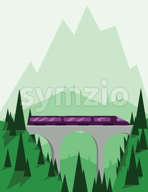 Abstract landscape design with green mountains and hills, a fast purple train on a bridge, flat style. Digital vector image. Stock Vector