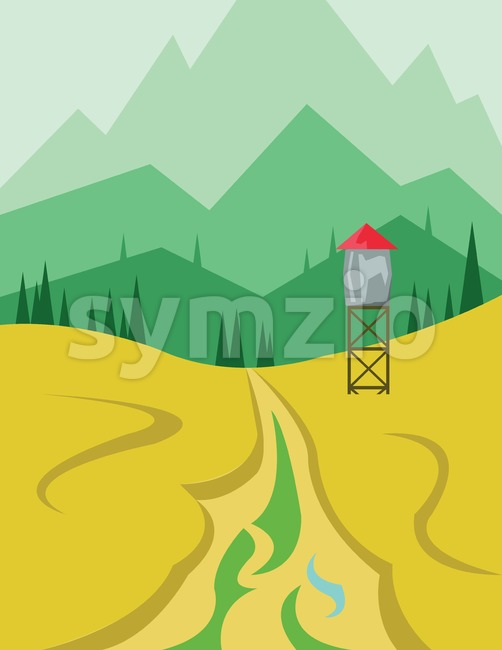 Abstract landscape design with green hills and trees, a security tower near the road, flat style. Digital vector image. Stock Vector