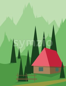 Abstract landscape design with green trees and hills, a red house in the mountains, flat style. Digital vector image. Stock Vector