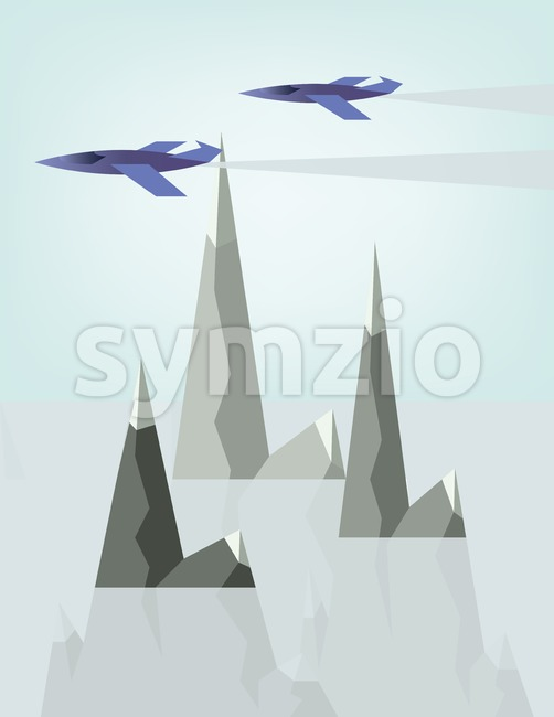 Abstract landscape design with jet planes and smoke flying above silver mountains with snow on top, flat style. Digital vector image. Stock Vector