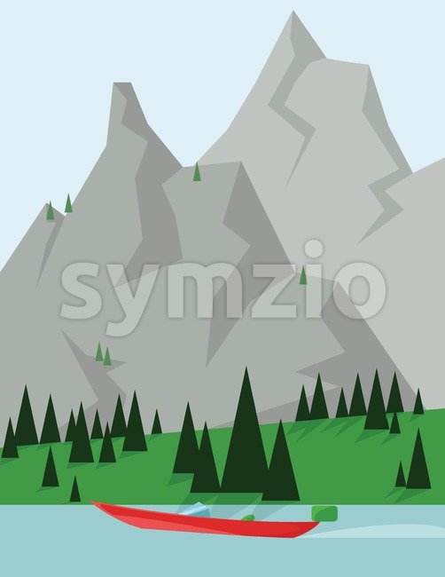 Abstract landscape design with green trees and silver mountains, a red boat on a lake, flat style. Digital vector image.