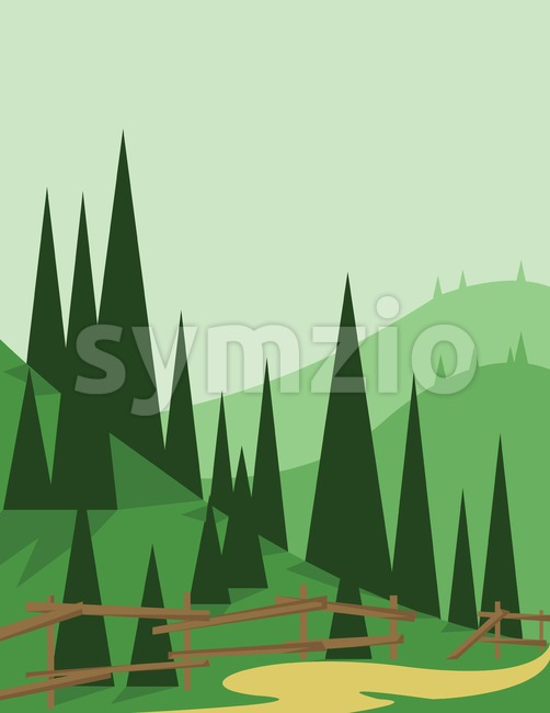 Abstract landscape design with green trees and hills, a road and wooden fence, flat style. Digital vector image.