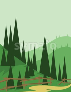 Abstract landscape design with green trees and hills, a road and wooden fence, flat style. Digital vector image. Stock Vector