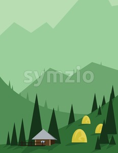 Abstract landscape design with green trees and hills, brown house in the mountains and yellow hay, flat style. Digital vector image. Stock Vector