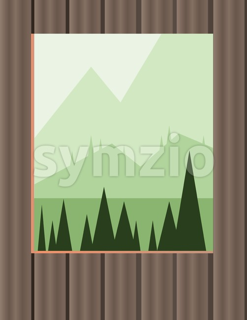 Abstract landscape design with green trees and hills, window view from the house, flat style. Digital vector image.