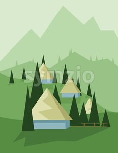 Abstract landscape design with green trees and hills, yellow houses in the mountains, flat style. Digital vector image. Stock Vector