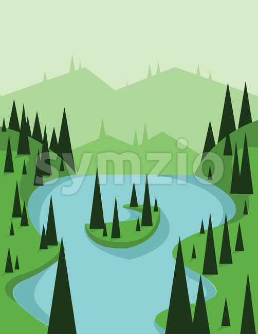 Abstract landscape design with green trees and flowing river, view from top to an island, flat style. Digital vector image. Stock Vector