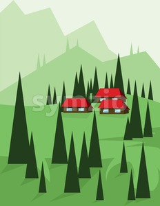 Abstract landscape design with green trees and hills, red houses in the mountains, flat style. Digital vector image. Stock Vector