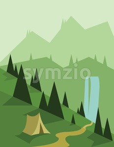 Abstract landscape design with green trees and a tent, a flowing river, view to mountains, flat style. Digital vector image. Stock Vector