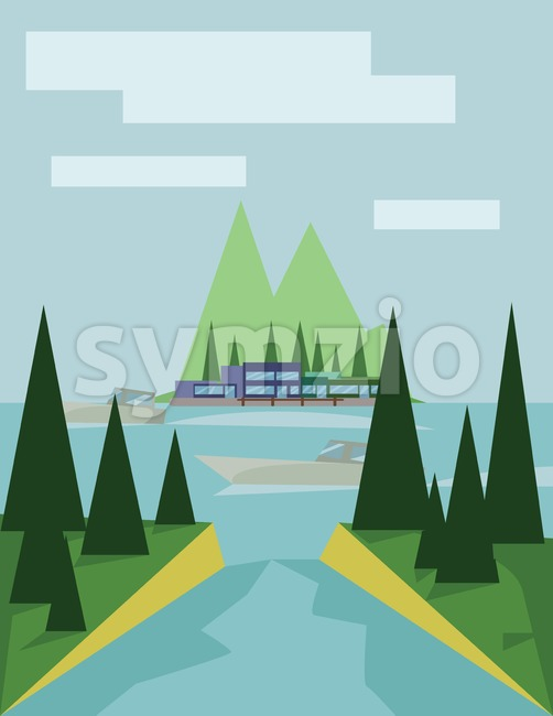 Abstract landscape design with green trees, clouds, a boat on a lake, view to island, flat style. Digital vector image. Stock Vector