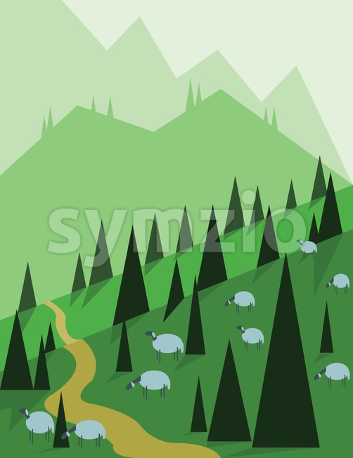 Abstract landscape design with green trees, hills and fog, sheeps on fields, flat style. Digital vector image. Stock Vector