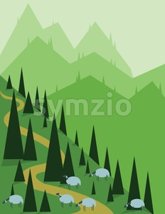 Abstract landscape design with green pine, hills and fog, sheeps on fields, flat style. Digital vector image. Stock Vector