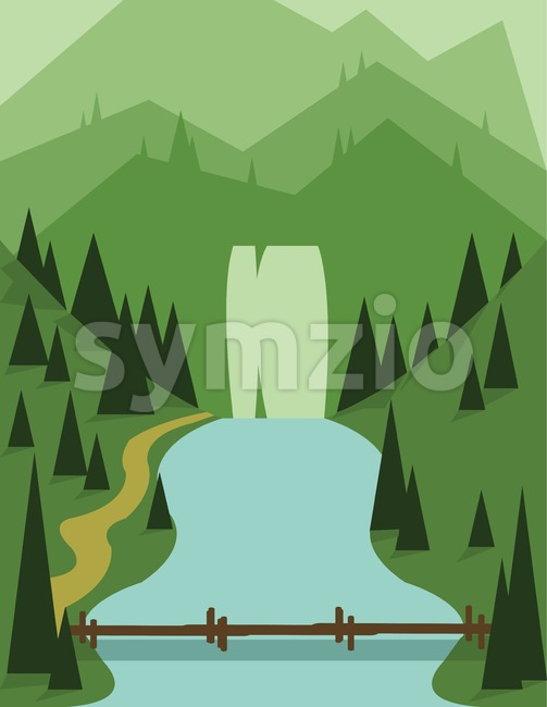 Abstract landscape design with green trees, a bridge and flowing river, view to mountains, flat style. Digital vector image. Stock Vector