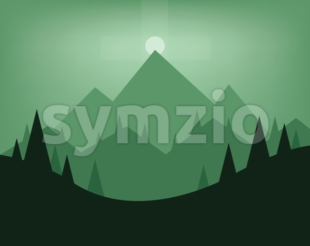 Abstract landscape design with green trees, hills, fog and the moon at night, flat style. Digital vector image.