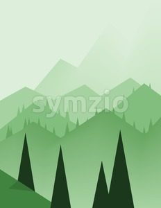 Abstract landscape design with green trees, hills and fog, flat style. Digital vector image. Stock Vector