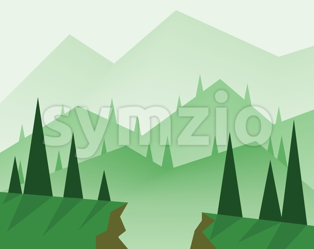 Abstract landscape design with green trees, hills, fog and a chasm, flat style. Digital vector image. Stock Vector