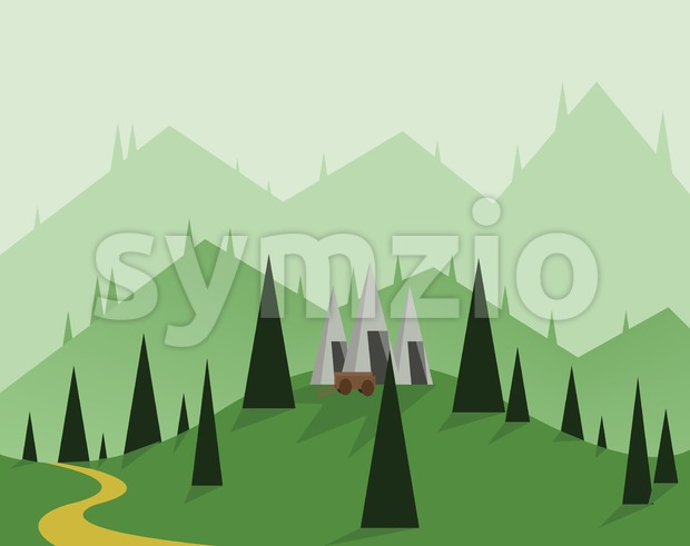 Abstract landscape design with green trees, hills and fog, a cart near silver mounds, flat style. Digital vector image. Stock Vector