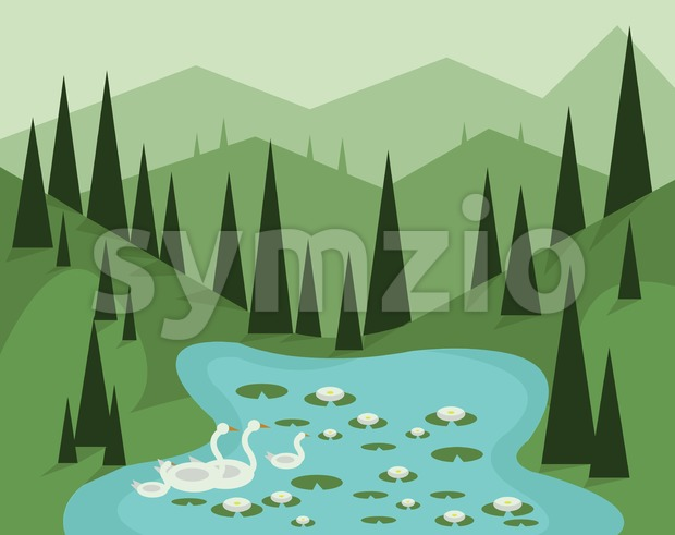 Abstract landscape design with green trees, hills and fog, geese swimming in a lake with waterlilies, flat style. Digital vector ...