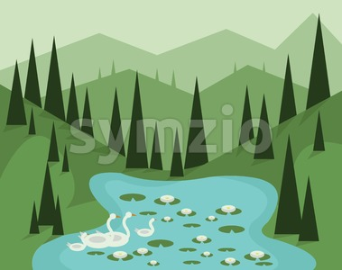 Abstract landscape design with green trees, hills and fog, geese swimming in a lake with waterlilies, flat style. Digital vector image. Stock Vector