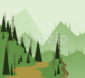 Abstract landscape design with green trees, hills, road and a chasm, flat style. Digital vector image. Stock Vector