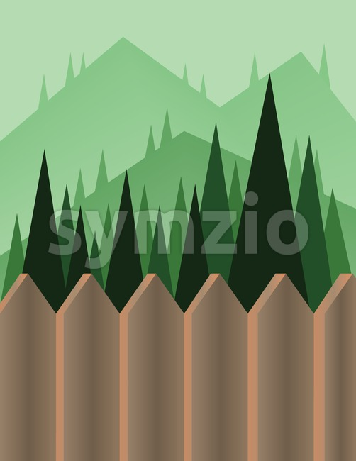 Abstract landscape design with green trees and hills, a brown fence and view to mountains, flat style. Digital vector image. Stock Vector