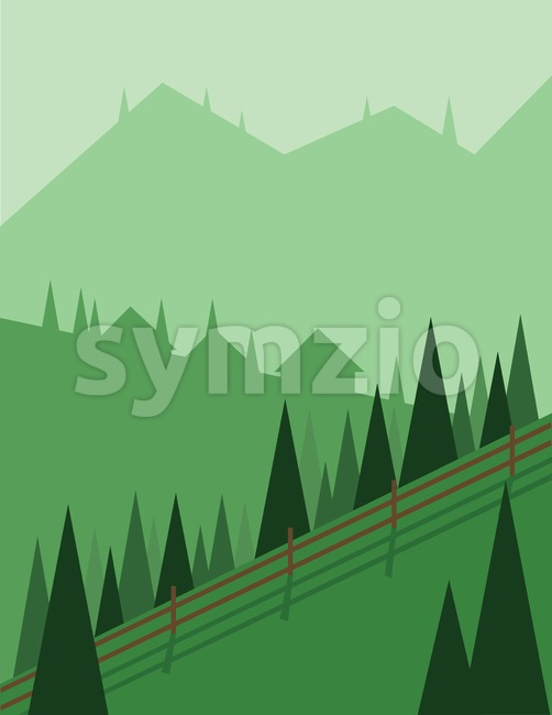Abstract landscape design with green trees and hills, houses in the mountains and a fence, flat style. Digital vector image. Stock Vector