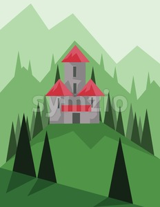 Abstract landscape design with green trees, hills and fog, big castle, flat style. Digital vector image. Stock Vector