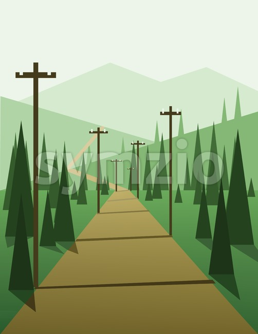 Abstract landscape design with green trees, hills and fog, a road with pylons, flat style. Digital vector image. Stock Vector