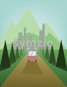 Abstract landscape design with green trees and hills, a brown road with a bus and view to mountains and the city, flat style. Digital vector image. Stock Vector