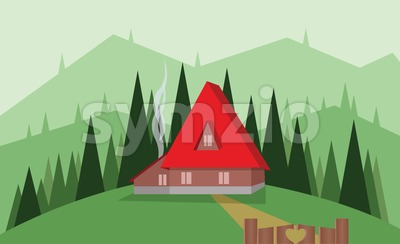Abstract landscape design with green trees, hills and fog, big red house with wooden gate, flat style. Digital vector image. Stock Vector
